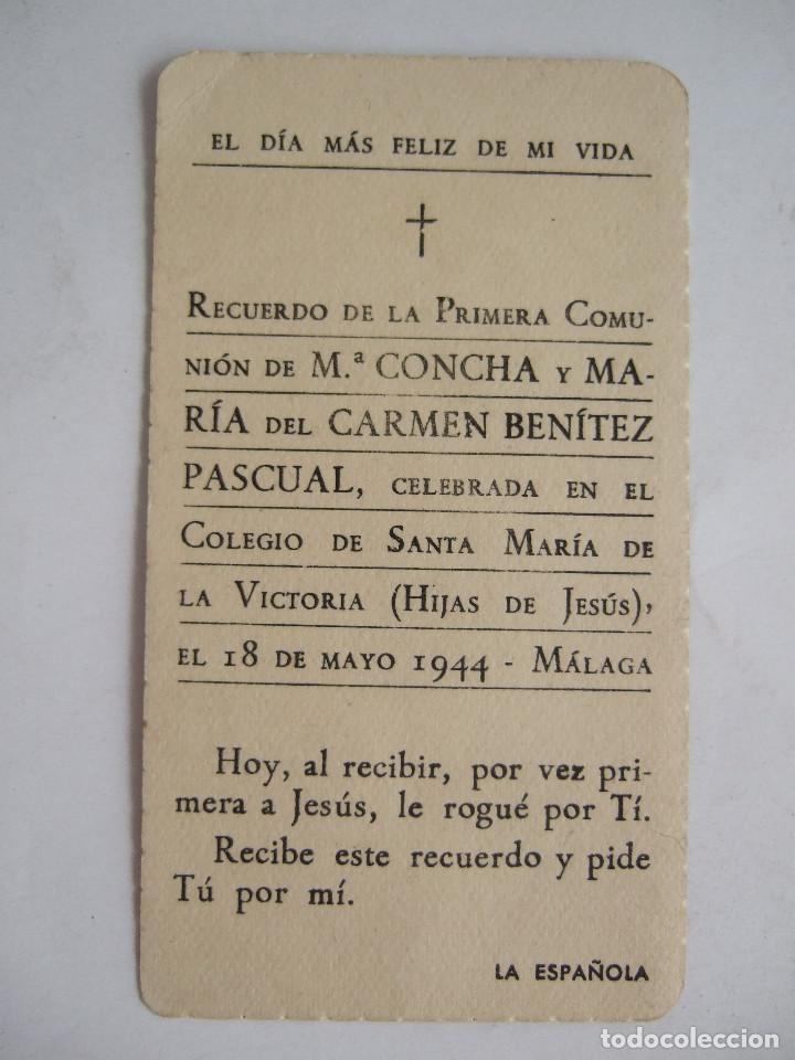 Postales: ESTAMPA RECORDATORIO COMUNION - 1944 - MALAGA - ANCLA LT 421 - Foto 2 - 196338646