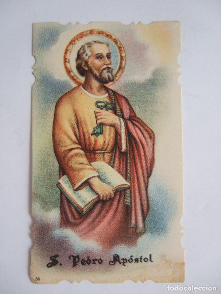 ESTAMPA RECORDATORIO COMUNION - 1957 - BORGE MALAGA - SAN PEDRO APOSTOL - ESCRITA A MAQUINA (Postales - Postales Temáticas - Religiosas y Recordatorios)