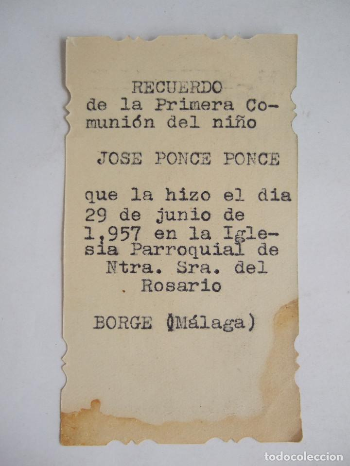 Postales: ESTAMPA RECORDATORIO COMUNION - 1957 - BORGE MALAGA - SAN PEDRO APOSTOL - ESCRITA A MAQUINA - Foto 2 - 196338817