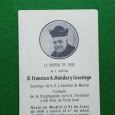 Postales: IMAGEN Y ORACIÓN DE FRANCISCO A. MÉNDEZ Y CASARIEGO. Lote 196397681