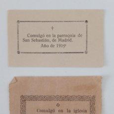 Postales: PAREJA DE COMULGOS MADRID. IGLESIA SAN IDELFONSO 1892 E IGLESIA SAN SEBASTIÁN 1919. Lote 197079781