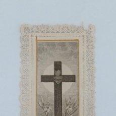 Postales: ESTAMPA PUNTILLA CORAZÓN DE JESÚS EN CRUZ. VIDA MÍA Y AMPARO MÍO. Lote 198215768