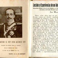 Postales: LECCIÓN Y EXPERIENCIAS DE UN ANIVERSARIO CON MOTIVO DEL 8 ANIV. DE FALLECIMIENTO DE DON ALFONSO XIII. Lote 198510656