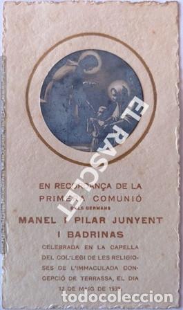 ANTIGÚO RECORDATORIO PRIMERA COMUNIÓN DEL AÑO 1932 (Postales - Postales Temáticas - Religiosas y Recordatorios)