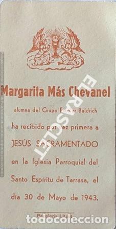 Postales: ANTIGÚO RECORDATORIO PRIMERA COMUNIÓN DEL AÑO 1943 - Foto 2 - 198746416