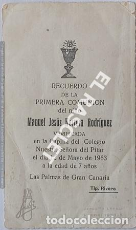 Postales: ANTIGÚO RECORDATORIO PRIMERA COMUNIÓN DEL AÑO 1963 - Foto 2 - 198746510