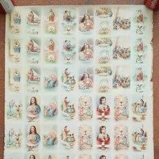 Postales: ANTIGUO PLIEGO 70 X 49,50 CON 54 ESTAMPAS RELIGIOSAS SIN CORTAR, MUY RARO, POSTER CARTEL, LAMINA. Lote 198817335