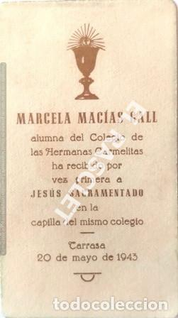 Postales: ANTIGÚO RECORDATORIODE LA PRIMERA COMUNIÓN AÑO 1943 - Foto 2 - 198824857