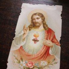 Postales: ESTAMPA RELIGIOSA ORACIÓN SAGRADO CORAZÓN DE JESÚS, 12X6'5CM.. Lote 199204008