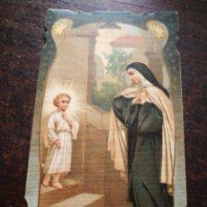 Postales: ESTAMPA RELIGIOSA ORACIÓN A SANTA TERESA DE JESÚS, 1899.12X7CM.. Lote 199204206