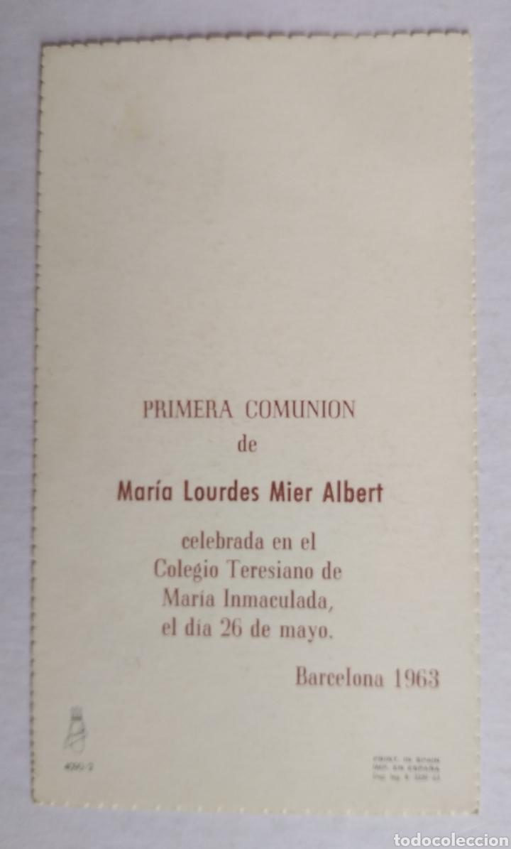 Postales: Tarjeta recuerdo recordatorio comunion ilustra Amparo año 1963 Barcelona - Foto 2 - 200198987