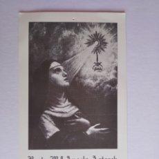 Postales: ESTAMPA RELIGIOSA BEATA MARÍA ÁNGELES ASTORCH CLARISA CAPUCHINA CON RELIQUIA. Lote 204767561