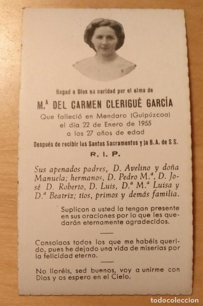 RD 27 ANTIGUA ESTAMPA RECORDATORIO DEFUNCIÓN CON FOTO - MENDARO (GUIPÚZCOA), ENERO 1955 (Postales - Postales Temáticas - Religiosas y Recordatorios)