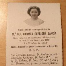 Postales: RD 27 ANTIGUA ESTAMPA RECORDATORIO DEFUNCIÓN CON FOTO - MENDARO (GUIPÚZCOA), ENERO 1955. Lote 206358512