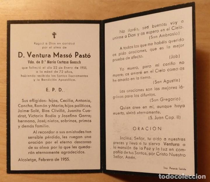 Postales: RD 29 Antigua Estampa Recordatorio defunción - Alcoletge, febrero 1955 - Imo. Petanás Lérida - Foto 2 - 206362292
