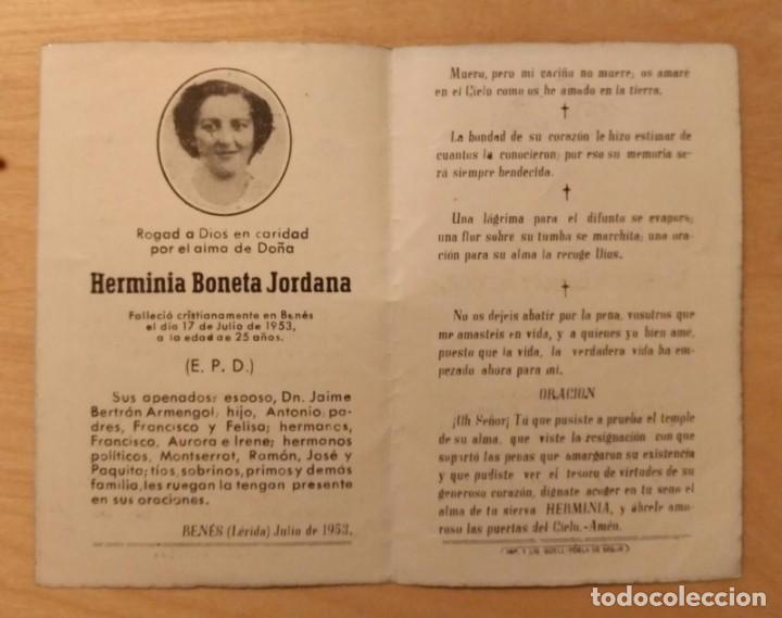 Postales: RD 35 Antigua Estampa Recordatorio defunción con foto - Benet (Lérida) julio 1953 - Imp. GÜELL - Foto 2 - 206367662