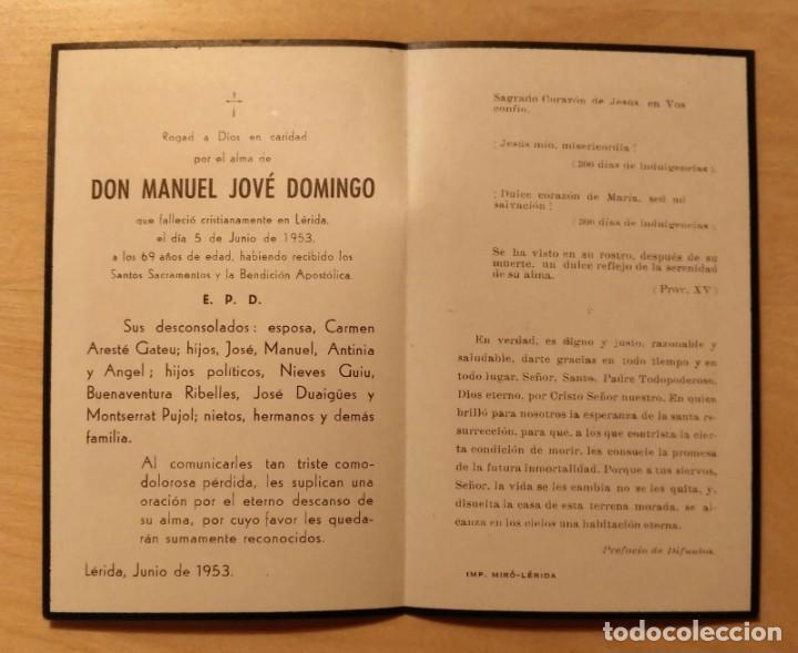 Postales: RD 38 Antigua Estampa Recordatorio defunción - Lérida, junio 1953 - Imp. Miró - Foto 2 - 206371786