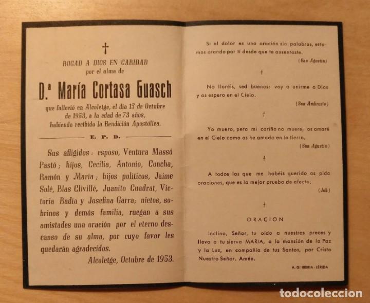 Postales: RD 40 Antigua Estampa Recordatorio defunción - Alcoletge (Lérida) octubre 1953 - A.G. Iberia - Foto 2 - 206373461