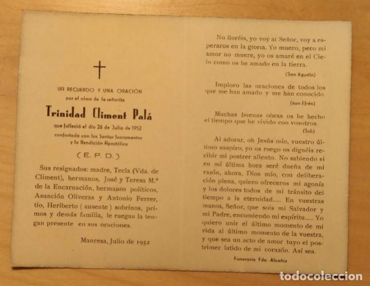 Postales: RD 43 Antigua Estampa Recordatorio defunción - Manresa, julio 1952 - Funeraria Fdo. Alcañiz - Foto 2 - 206376750