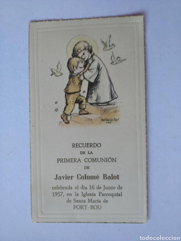 Postales: Estampa recuerdo recordatorio comunion ilustra Ferrandiz 1957 - Foto 2 - 206377716