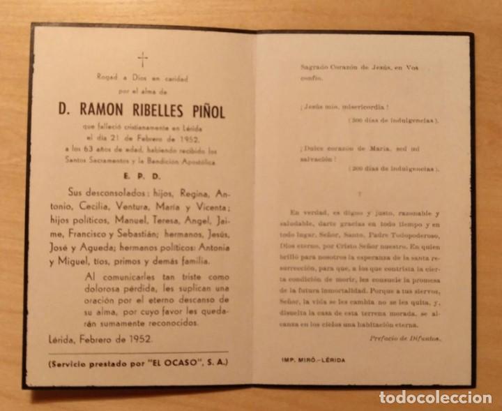 Postales: RD 44 Recordatorio defunción - Servicio prestado por El Ocaso, S.A. - Lérida, febrero 1952 - Foto 2 - 206380057