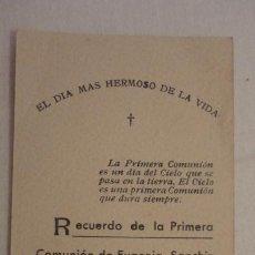 Postales: RECUERDO PRIMERA COMUNION.EUGENIA SANCHIZ MENDARO.CHAMARTIN DE LA ROSA. 1941. Lote 206381718