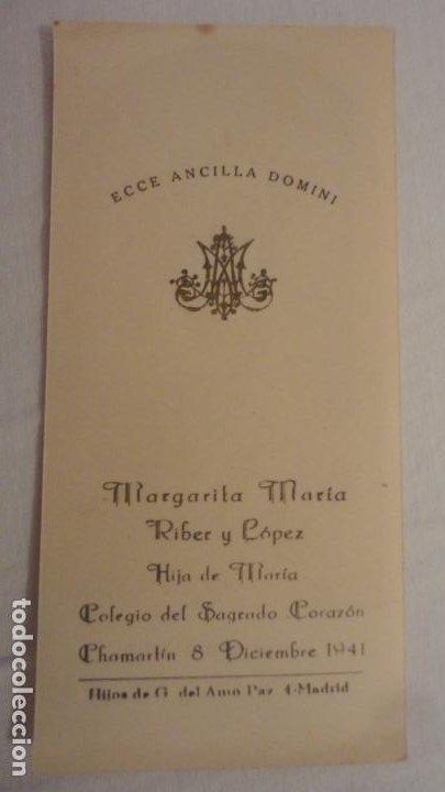 RECUERDO HIJA DE MARIA.MARGARITA MARIA RIBER Y LOPEZ.CHAMARTIN.1941 (Postales - Postales Temáticas - Religiosas y Recordatorios)