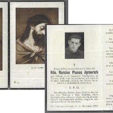 Postales: RECORDATORIO DEFUNCIÓN AÑO 1942 .- REVERENDO NARCISO PLANAS AYMERICH -STA.COLOMA FARNÉS. Lote 206886160
