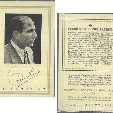 Postales: RECORDATORIO DEFUNCIÓN AÑO 1942 .FRANCESC DE P. PUIG LLENSA - CATÒLIC FERVENT. Lote 206886733