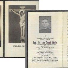 Postales: RECORDATORIO DEFUNCIÓN AÑO 1955 * RDO. JUAN COLOMÉ ABADIE * CURA EC. VALLFORMOSA DE VILOVÍ. Lote 206893702