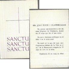 Postales: RECORDATORIO DEFUNCIÓN AÑO 1964 * MN. JOAN BUCH I CUATRECASAS * VILABLAREIX. Lote 206894285