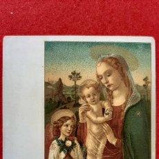 Postales: POSTAL ANTIGUA ESTAMPA VERGINE BAMBINO ANGELO ITALIA REVESO SIN PARTIR ORIGINAL PRJ 62. Lote 207277363