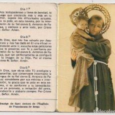 Postales: ESTAMPA NOVENA - SANT ANTONIO DE PADUA - ESGLÉSIA DE FRANCISCANS DE BERGA. Lote 208101036