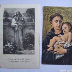 Postales: LOTE 2 ESTAMPAS SAN ANTONIO DE PADUA. Lote 208153081