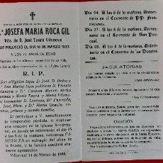 Postales: RECORDATORIO DE DEFUNCION IN MEMORIAM CARMELITA 1933 VILLARREAL ORIGINAL RD1B. Lote 210185415
