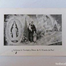 Postales: ESTAMPA RELIGIOSA, SAN VICENTE DE PAUL. Lote 210718609