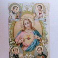 Postales: ESTAMPA RELIGIOSA, SAGRADO CORAZON DE JESUS, RODEADO DE SANTOS. Lote 210719631