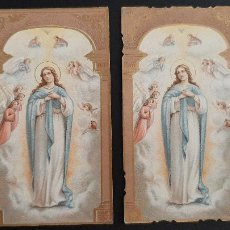 Postales: ANTIGUA ESTAMPA RELIGIOSA VIRGEN MARIA 2 ESTAMPAS ORIGINAL ESJ 1153. Lote 211599284
