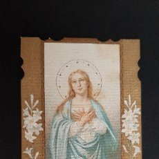 Postales: ANTIGUA ESTAMPA RELIGIOSA VIRGEN MARIA CONCEBIDA SIN PECADO ORIGINAL ESJ 1166. Lote 211600880