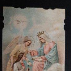 Postales: ANTIGUA ESTAMPA RELIGIOSA VIRGEN REGINA ANGELORUM ORIGINAL ESJ 1173. Lote 211601699