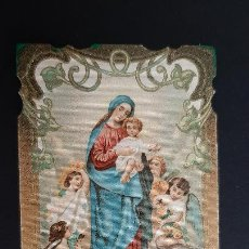 Postales: ANTIGUA ESTAMPA RELIGIOSA VIRGEN REGINA ANGELORUM MODERNISTA ORIGINAL ESJ 1174. Lote 211601797
