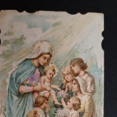 Postales: ANTIGUA ESTAMPA RELIGIOSA VIRGEN MARIA Y LOS NIÑOS ORIGINAL ESJ 1183. Lote 211602826
