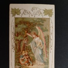 Postales: ANTIGUA ESTAMPA RELIGIOSA ANGEL DE LA GUARDA PEQUEÑA ORIGINAL ESJ 1194. Lote 211603961