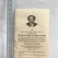Postales: ESQUELA. Mª. DE LOS DOLORES DE ARROSPIDE. CONDESA DE GUARO Y VIZCONDESA ...MADRID, 6 JULIO 1953.. Lote 213683972