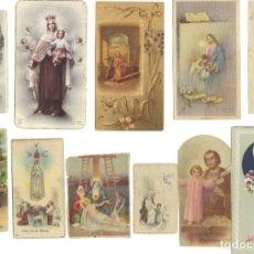 Postales: LOTE DE 11 ESTAMPITAS PEQUEÑAS RELIGIOSAS ANTIGUAS EN COLOR. Lote 214835303