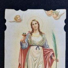 Cartes Postales: ANTIGUA ESTAMPA RELIGIOSA SANTA LUCIA PUBLICIDAD CHOCOLATES ORIGINAL ESJ 1400A. Lote 216668351