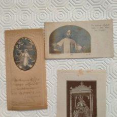 Postales: LOTE DE 3 RECORDATORIOS. UNO DE ELLOS RECUERDO DE LA PRIMERA COMUNION DE 2 HERMANOS EN PALENCIA EN 1. Lote 218177883