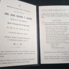 Postales: RECORDATORIO FALLECIMIENTO BILBAO 1917 GALARZA CASTIELLA LAZCANO. Lote 218420506