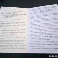 Postales: RECORDATORIO FALLECIMIENTO TORRES BUERBA SESO BOLTAÑA 1931. Lote 218420835