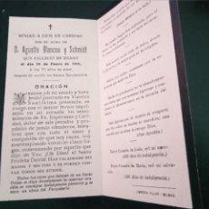 Postales: RECORDATORIO FALLECIMIENTO AGUSTÍN BLANCOU SCHMIDT BILBAO 1910. Lote 218421668